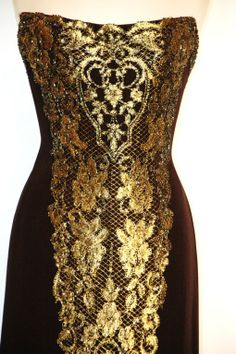 255994f461 Bob Mackie Black  amp  Gold Strapless Gown Dress
