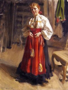 Anders Zorn (Swedish painter, sculptor and printmaker in etching) 1860 - 1920  Girl in an Orsa Costume, 1911  oil on canvas