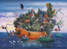 Painting by Dragan Mikhailovich Colorful Paintings, Beautiful Paintings, Fantasy Kunst, Fantasy Art, Fairytale Art, Naive Art, World Of Color, Stone Painting, Painting Art