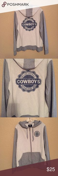 Women's Medium NFL Pro Line Dallas Cowboys Hoodie Like new!!! NFL Dallas Cowboys Zip Up Hoodie. Hung to dry. Worn once. Size Medium. Smoke and Pet Free Home! Tops Sweatshirts & Hoodies