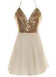 White Crossback Sequin Dress