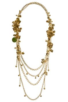 Long Multichain Metal Flower Necklace By ELIE SAAB @ http://www.boutique1.com/