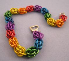Rainbow Sweet Pea Chainmaille Bracelet by youvegotmaille on Etsy, $18.00