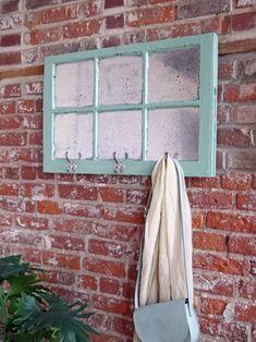 hanging mercury glass window with hooks Antique Windows, Wooden Windows, Vintage Windows, Old Windows, Reclaimed Windows, Vintage Window Decor, Window Frame Decor, Old Window Frames, Decorating With Window Frames