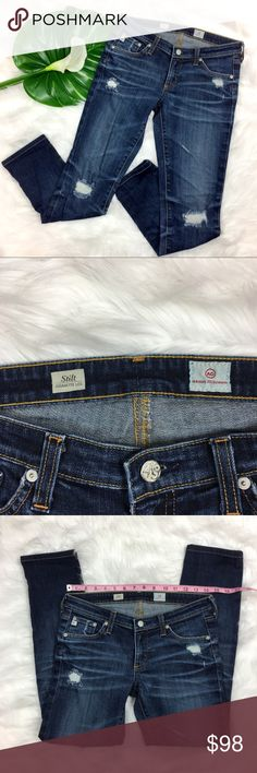 AG The Stilt Distressed Cigarette Leg Jeans AG Adriano Goldschmied The Stilt Distressed Cigarette Leg Jeans. Size 27 with 27' inseam and 7' rise. Pre-owned condition with basic wear. Back tag has some indigo transfer.   ❌I do not Trade 🙅🏻 Or model💲 Posh Transactions ONLY Ag Adriano Goldschmied Jeans Skinny