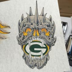 Green Bay Packer skull. I'd love to do this as a Tattoo.