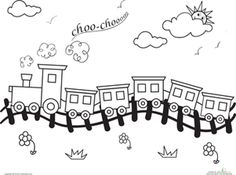 This Coloring Page Features A Train Thats Slowly Chugging Along The Railroad Tracks In Beautiful Countryside
