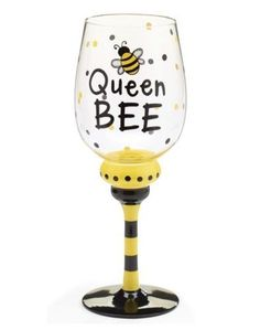 Queen-Bee-Wine-Glass-Glasses-16-oz-Hand-Painted-Bar-Gifts-Bumble-Bee