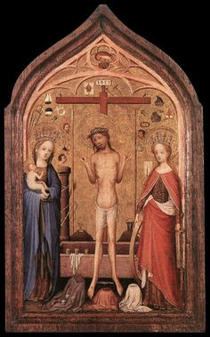 Image from http://upload.wikimedia.org/wikipedia/commons/b/b2/Master_of_Saint_Veronica_-_The_Man_of_Sorrow_with_the_Virgin_and_St_Catherine_-_WGA14488.jpg.