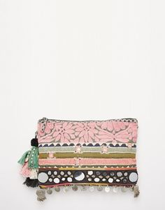 Star Mela Embellished Clutch with Metal Disc Trim