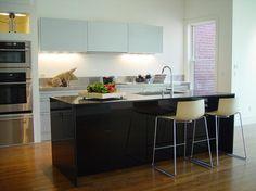 kitchen, Minimalist Kitchen Design Ideas With Small Kitchen Furniture Decor Ideas With Breakfast Bar Wooden Flooring Kitchen Storage Design ...