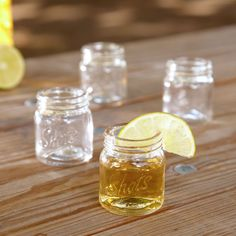 There is little more relaxing than a cold drink from a mason jar on a warm summer afternoon, unless of course that drink is your favorite liquor and you re shooting it from our Cool Shots mason jar shot glasses! Featuring  Shots  emblazoned across the front, this shot glass set is designed to resemble mason jars without a lid. Set of four. Each shot glass holds 2oz, measures 2    high and 2  in diameter. Hand wash only..