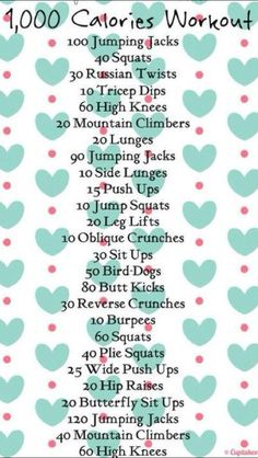 1000 calorie workout, starts with 100 jumping jacks