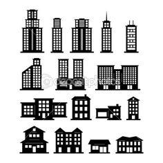 흑인과 백인 건물 세트 1 — 스톡 일러스트 #20799875