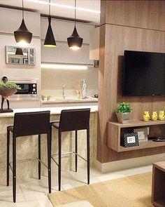 Bar Stools for Kitchen Decor Kitchen Room Design, Kitchen Sets, Modern Kitchen Design, Kitchen Decor, Condo Interior Design, Apartment Interior, Small Apartment Living, Small Apartments, Living Room Designs