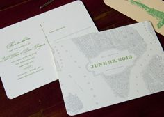 New York Map Save the Date card