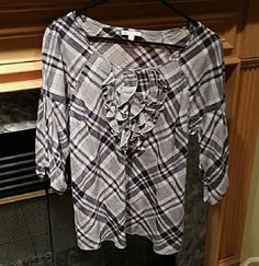 Gap Plaid Ruffle Front Blouse Medium | Clothing, Shoes & Accessories, Women's Clothing, Tops & Blouses | eBay!