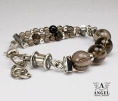 Handmade Bracelets Sterling Silver Coffee Quartz  by AngelJK, zł360.00