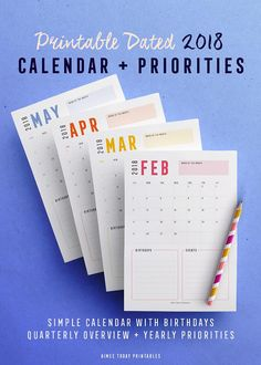 2018 Printable calendar with yearly priorities and dated quarterly goals overviews. This is an instant download so you can print them out immediately and pop them in your binder, planner or on a pretty desk clipboard!
