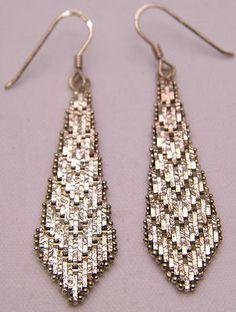 Vintage 925 Sterling Drop Tie-Shaped Earrings Milor Italy Aarow Shape Mesh Nice