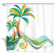 Rainbow Palm Tree Shower Curtain on CafePress.com