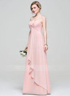 [£94.00] Empire Halter Floor-Length Chiffon Bridesmaid Dress With Cascading Ruffles