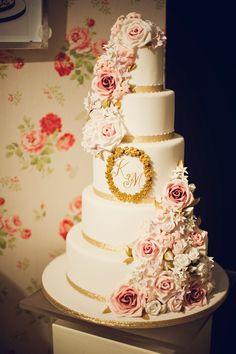5 tiered rose monogram cake. Anna Tyler Cakes UK.