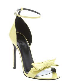 Gucci yellow patent leather bow strap stiletto sandals