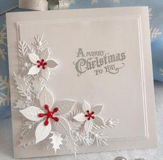 Egentlig er jeg jo færdig med at lave julekort, men så så jeg et virkelig lækkert julekort i CAS-stil på Pinterest og så måtte jeg bare prøv...