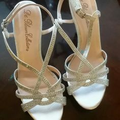 Silver sparkle heels prom Silver worn once size 7 1/2 DE blossom collection Shoes Heels