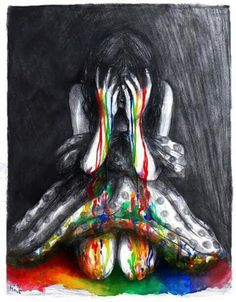 Art... Girl crying rainbow