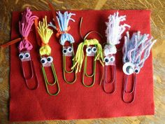 Almost Unschoolers: Summer Fun Day 63 - Paperclip Pals (Diy School Washi Tape) Paperclip Crafts, Paperclip Bookmarks, Yarn Crafts, Paper Crafts, Diy Paper, Crafts To Make, Crafts For Kids, Arts And Crafts, Paper Clip Art