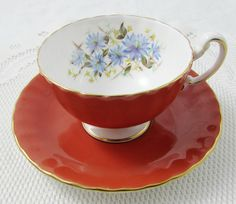 Aynsley Red Orange Tea Cup and Saucer with Blue Flowers on the Inside Rim, Antique Tea Cup, Bone China