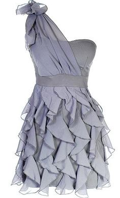 Chandelier Frills Dress: Features an elegant one-shoulder design with gathered chiffon overlay capped with a festive bow at right strap, lightly padded bust, nipped-and-neat banded waist, and a mesmerizing display of chandelier frills surrounding the lower portion to finish.