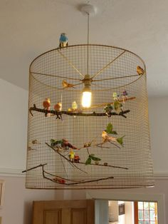 Using wire mesh wrapped round sha., The bird cage is both a property for the chickens and a pretty tool. You are able to select whatever you want one of the bird cage versions and get a lot more special images. Decor, Lamp Shade, Diy Inspiration, Caged Lamp, White Lamp Shade, Diy Light Fixtures, Bird Cage Design, Diy Chandelier, Bird Cage Decor