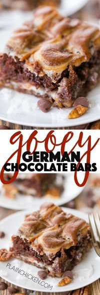 Gooey German Chocolate Bars - ooey, gooey heaven in a pan! These things are SOOOO good!!! Coconut, pecans, german chocolate cake mix, cream cheese, butter and powdered sugar. Only takes a minute to make. The hardest part is waiting on the bars to cool!!!