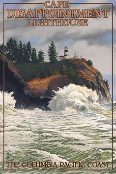 The Columbia-Pacific Coast, Washington - Cape Disappointment Lighthouse (36x54 Giclee Gallery Print, Wall Decor Travel Poster) *** Remarkable product available now. : Kitchen Table Linens