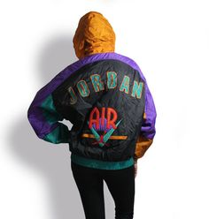 Air Jordan NIKE 90's Vintage Colorful Windbreaker by KatrajinaCo, $98.00