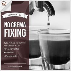 If you don't see any crema in your espresoo, either the puck isn't sufficiently resisting the pressurized water or your coffee is just too old. To fix it, you can try to dose more coffee, grind finer or use fresh coffee. . . #creativenolimit101 your daily tips for coffee making, graphic arts, photography, and leather crafts. Follow us spazio_creativenolimit to get more useful tips! . . #dailytips #tips #infographic #basic #kopi #coffee #coffeebrewing #manualbrew #coffeetips #coffeebreak…