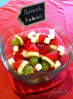Need a quick and healthy treat for a holiday party? These Grinch Kabobs are cute (and the kids like making them, too)!