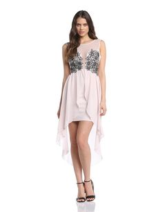 Lipsy Women's Mesh Bus Shoulder Applique High Low Sleeveless Dress Hushed Violet Size 8: Amazon.co.uk: Clothing