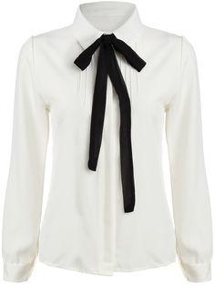 White Tie-neck Long Sleeve Slim Blouse 15.11