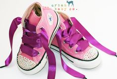 Infant, Toddler Baby Girl Hi-Top Pink Converse All Star Chuck Taylor's With Purple Ribbon Laces & Swarovski Crystal Rhinestones | Urban Baby co.