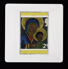 """Christmas Brooch """"Black Madonna and Child from Haiti"""" postage stamp issued in Designed by Irene Von Trekow who also designed the Christmas stamps in The postage stamp is highlighted using a textured, gold paper. True Colors, Colours, Royal Mail Postage, Madonna And Child, Gold Paper, Haiti, Postage Stamps, Great Artists, Irene"""