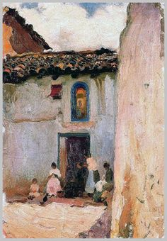Painting by Spanish artist Cecilio Pla y Gallardo Spanish Painters, Spanish Artists, Village Drawing, Impressionist Artists, Visual Texture, Dollhouse Accessories, Figure Painting, Contemporary Artists, Lovers Art