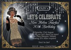 10 x Personalised Great Gatsby Birthday Anniversary Party Invitations Great Gatsby Invitation, 21st Invitations, Anniversary Party Invitations, Anniversary Parties, Speakeasy Party, Gatsby Themed Party, Great Gatsby Theme, 50th Birthday Party, Putting On The Ritz