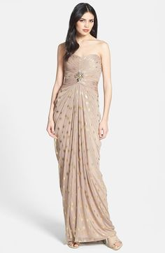 Free shipping and returns on Adrianna Papell Foiled Dot Draped Mesh Dress at Nordstrom.com. Opulent jewels center attention on the finely shirred bodice of a Grecian-inspired dress that drapes beautifully into a dreamy, full-length skirt. Metallic dots scattered throughout provide on-trend glamour.