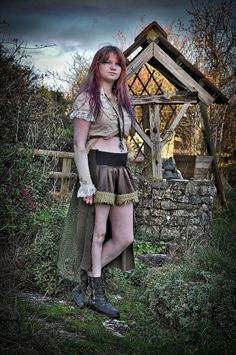 Green gypsy steampunk skirt. Steam punk clothing. High / low, short & long skirt Size medium
