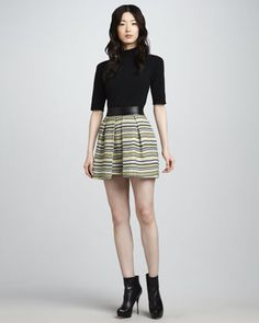 Milly Naomi Leather-Waist Skirt - Neiman Marcus