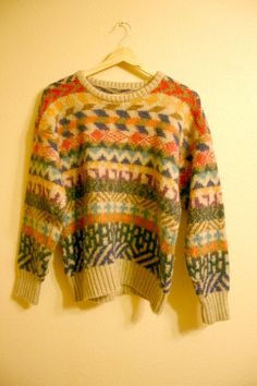 Vintage Knit WOOL Sweater by ATELIERVINTAGESHOP on Etsy, $58.00